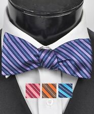 Woven Silk Two Tone Striped Self-Tie Bow Tie (FBS3701)