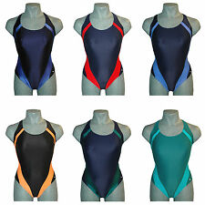 CHEX Swimming Costume Maldives 20% Lycra Ladies Strappy Back Blue Green Black