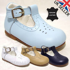 BABY BOY LEATHER SPANISH T-BAR SHOE WHITE NAVY CAMEL SKY BLUE SIZE UK2 - UK9 NEW