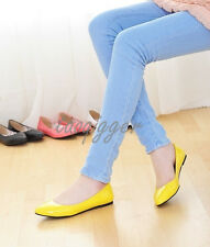 Korean Women Candy Color Ballet Flats Patent Leather Slipper Casual Shoes Pointy