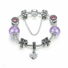 Black Friday Silver Plated Charms Bracelet  Purple Murano Beads DIY For Women