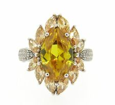 Fashion Sterling Silver Padparadscha Sapphire CZ Yellow Sapphire CZ Cocktail Rin