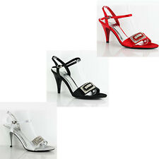 WOMENS LADIES STRAPPY MID HIGH STILETTO HEELS ANKLE STRAP SHOES SANDALS 3-7