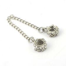 Fashion silver plated Clip safety chain European bead Fit  Charm Bracelet