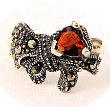 GARNET HEART & BOW RING: CZ Heart & Marcasite Bow Sterling Silver (Size 6,7,8)