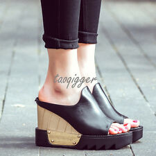 Womens Wedge Heel Platform Peeptoe Roma Sandals Slipper Leather Gothic Shoes New