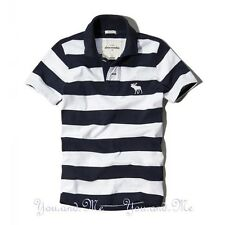 NEW ABERCROMBIE & FITCH KIDS A&F Boys Cotton Striped Polo Shirt * Navy/White S