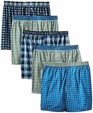 Hanes MFWBX5 Mens 5-Pack Inside Exposed Waistband Woven Boxers