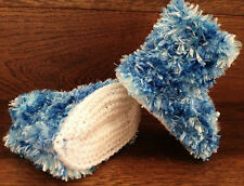 Hand Knitted Baby Booties Boots Slippers Boy Soft Faux Fur Eskimo Blue  0-12M
