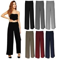 New Womens Baggy Wide Legged Stretchy Trousers Pants Flared Palazzo Leggings