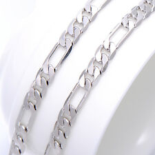 Mens Childrens 18K White solid Gold Filled Hip Hop Long Figaro Chain Necklaces