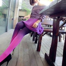 Women Footed Stretch Pantyhose Stockings Opaque Tights Color Gradient Velvet