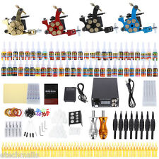 Solong Complete Colorful Tattoo Kit 4 Machine Gun Shader Liner Needle Tip Power
