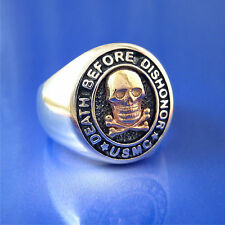 """Marine Corps """"Death Before Dishonor"""" Ring - Sterling Silver & Solid 14K Gold"""