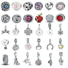 European Silver CZ & Crystal Charm Beads Fit sterling Bracelet Necklace Chain
