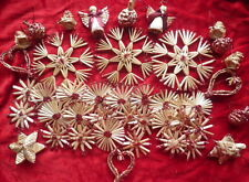 Natural Straw Christmas Tree Decorations Red 42 Pieces Or Gold 42 Pieces