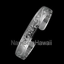 Hawaiian Bangle Plumeria Scroll 925 Sterling Silver Smooth Bracelet Silver Cuff