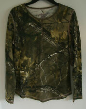Women's Realtree Camo Pink Stitching Long Sleeve Thermal Henley Shirt NWT