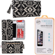 Kroo Paisley iPhone 6 Phone and Wallet case w/ Glass Screen Protector ESMLPS-1