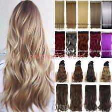 Real One Piece Clip in on Full Head Hair Extensions Extension 100% Natural hair