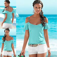 Hot Girl Popular Summer Elegant Strapless Tops Short Sleeved T-shirt Solid Color