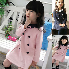 Girl's Long Sleeve Children Double-breasted Princess Party Dress Shirt 2-7 Years