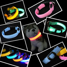 LED Dog Night Safety Pet Flashing Light Adjustable Cat Nylon Collar Leash Colors
