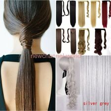 Long Clip In Hair Extension Deluxe Thick Hair Wrap Around Ponytail Black Blonde