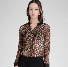 Fashion Sexy Plus-size Leopard Print Slinky Blouse Shirt Casual V-neck Popular