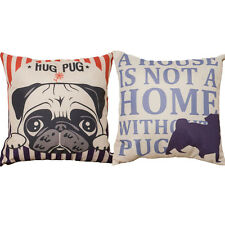 18'' Cute Dog Puppy Pug Pillow Case Letters Cushion Cover Home Office Car Decor