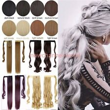 "18/21"" Clip In Ponytail Pony Tail Hair Extension Wrap Around Hair Piece Straight"