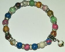 8mm HOWLITE TURQUOISE GEMSTONE BEADED SILVER STRETCH CHARM BRACELETS MIXED SIZES