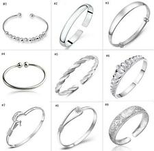 925 sterling Silver filled Bracelet Bangle Charm girl Jewelry Xmas Gifts