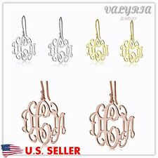 1 Pair Personalized Monogram Earrings with Any 3 Initials - Stainless Steel