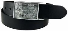 NWT LEVIS STRAUSS LEATHER MENS 11LV0253 REMOVABLE PLAQUE BUCKLE BLACK BELT