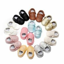 0-18M Newborn Baby Leather Tassel Soft Sole Shoes Girls Infant Crib Moccasin