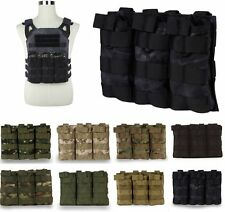 MOLLE Tactical Triple 5.56 .223 Magazine Pouch Open Top Mag Holster Ammo Bag