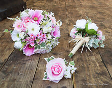 Silk Wedding Flowers, Country Style Mixed Flower Bouquet in Pink & Ivory, Bridal