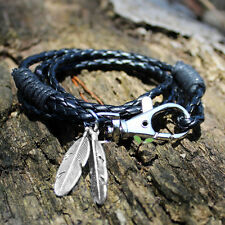 Mens Faux Leather Feather Wristband Infinity Bracelet Bangle Surfer