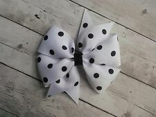 "White with Black Dots Polka Dot Hair Bow - 4"" Bow - Clip or Barrette"