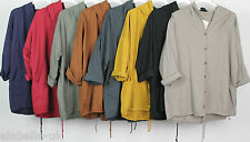 NEW LADIES ITALIAN QUIRKY LAGENLOOK PLAIN HOODED LAYERING JACKET TOP