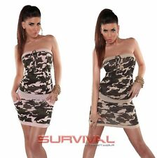 Womens Mini Dress New Sexy Army Camouflage Print with Pockets Casual Size 6 8 10