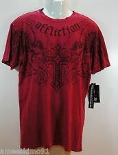 AFFLICTION Mens Tshirt Tee Mourne SS Crew A5909 Dark Red size XL Cotton NEW NWT
