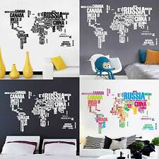 English Letter World Map wall sticker Removable Art Mural Decal Baby Kids Room