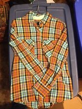 New With Tags Womens Hurley Button Down Shirt, Orange with mint, Retail $45