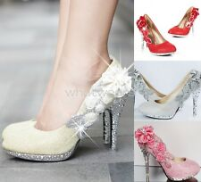 Women Sequin Gorgeous Wedding Bridal Party Crystal High Heels Shoes ZTW