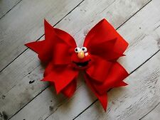 "Boutique Elmo Red Double Layer 4"" Hair Bow - Clip or Barrette"