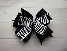 "Black and White Zebra Stripe Double Layer Hair Bow 4"" Bow Clip or Barrette"