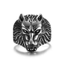 Fashion Men's Jewelry Grinning Wolf Head 316L Stainless Steel Punk Biker Ring