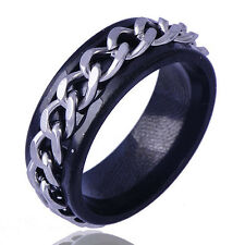 mens jewelry Stainless Steel ring Black band silver fill chain Ring Size 9/10/11